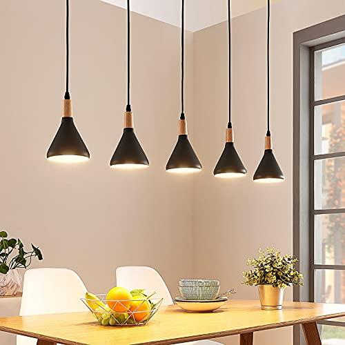 Lindby LED Pendelleuchte 'Arina' (Modern) in Schwarz aus Metall u.a. für Wohnzimmer & Esszimmer (5 flammig, E14, A+, inkl. Leuchtmittel) - Hängeleuchte, Esstischlampe, Hängelampe, Hängeleuchte