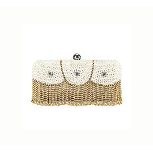 Y-hm Moda Nueva Bolsa de decoración de Perlas con Cuentas Hecha a Mano de Tachuelas de Diamante para Mujer Diseño Ligero (Color : Gold, Size : 18 * 6.5 * 8CM)