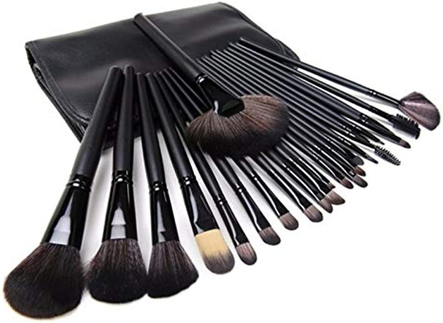 Fashion 24pcs Makeup Brush with Easy to Carry Black PU Bag Pretty (color   Black)