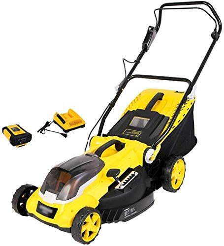 REWD Brushless Lawn Mower Cordless Lawnmower, 40cm Cutting Width 6 Adjustable Mowing Heights, Low Noise, Foldable Handlebar, with Battery & Fast Charger