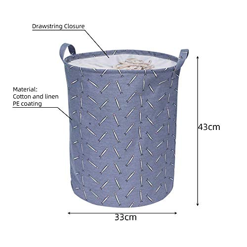SEESEE.U Laundry Baskets Collapsible,Blue Folding Collapsible Laundry Basket Large Capacity Drawstring Closure Laundry Hamper Canvas Storage Organizer With Handle Bin