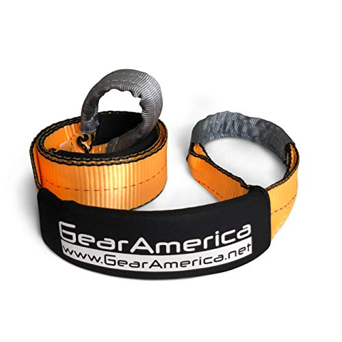GearAmerica Tree Saver Winch Strap 3' X8' Heavy Duty 35,000 Lbs (17.5 Tons) Strength Off-Road Towing Rope for Jeep Or Truck Reinforced Loops with Orange Storage Bag