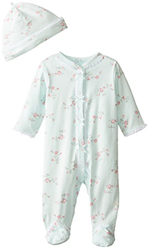 Little Me Baby-Girls Newborn Floral Spray Footie and Hat, Mint Print, 6 Months