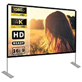 Projector Screen with Stand 100 inch 16:9 HD 4K Outdoor Indoor Projection Screen for Home Theater 3D Fast-Folding Projector Screen with Stand Legs and Carry Bag Projection Movie Wrinkle-Free…