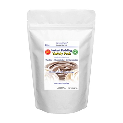 GramZero Variety Pudding Mix, 12/16 oz Yield (Makes 48 - 4 oz servings), Stevia Sweetened, SUGAR FREE