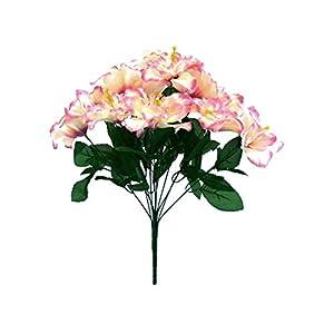 20″ Bouquet Cream Beauty Tip Hibiscus Bush 12 Artificial Silk Flowers LivePlant