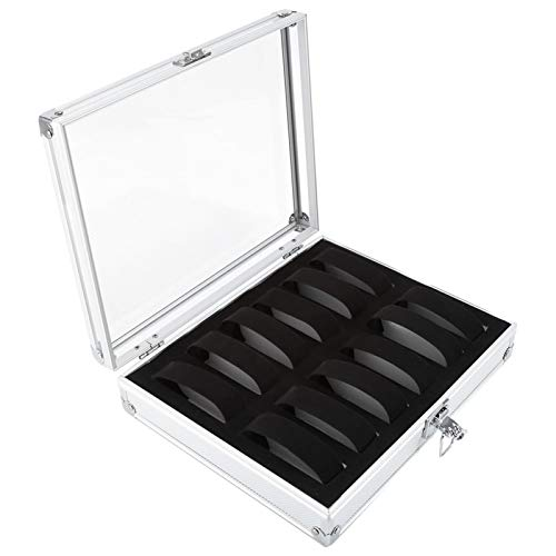 WENHANGshidai Uhrenbox, Gitterschlitze Aluminium, Schmuckdisplay Aufbewahrungsbox,kann auch zum Sammeln von Armbändern, Armreifen und anderem Schmuck verwendet Werden(12 Bit)