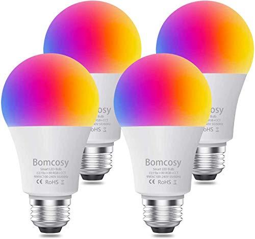 Bombilla inteligente, Bombilla LED inteligente WiFi Bomcosy de 9 W, compatible con Alexa, Echo, Google Home y Siri (no se requiere concentrador), blanco cálido, equivalente a 60 W, 4 Pack