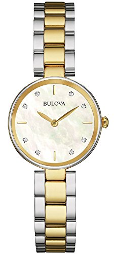 Bulova Diamond 98S146 - Reloj de Pulsera de diseño para Mujer - Acero Inoxidable - Dorado