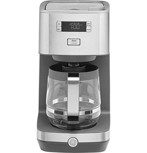 GE Drip Coffee Maker with 12-Cup Glass Carafe, Programmable with Delayed Start & Timer Settings, Clutter-Free Hidden Cord Storage, Stainless Steel, G7CDAASSPSS
