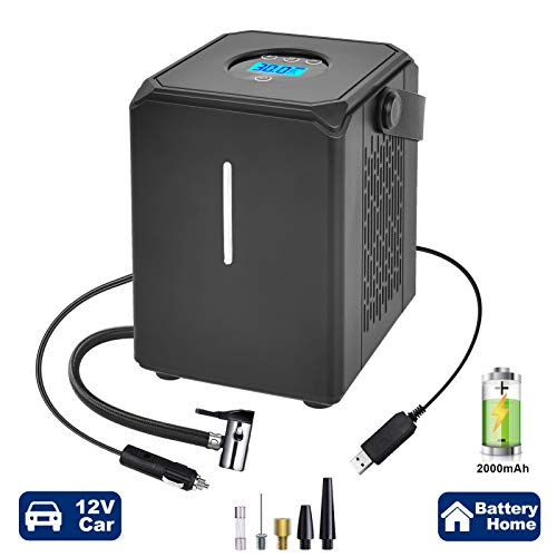 GSPSCN AC/DC Rechargeable Cordless Tire Inflator,Mini Handheld Air Compressor,12V Portable Tire Pump with Li-Ion Battery,Digital Display for Car Bicycle Tires, Balls and Other Inflatables
