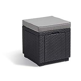 ALLIBERT Tabouret Cube avec Coussin, Gris