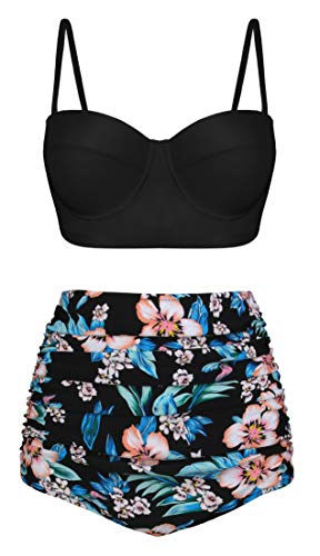 Angerella Damen Retro Vintage Underwire Hoch Tailliert Badeanzüge Bikini Set,2X-Large