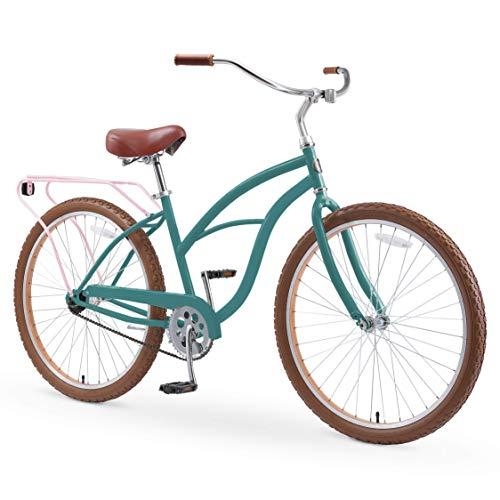 sixthreezero Around The Block Women's 26' Single Speed New Beach Cruiser Bicycle with Rear Rack, Pine Melon, One Size