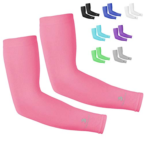 Cooling Arm Sleeves for Men & Women, Tatoo Cover up, 1 Pair (Pink)