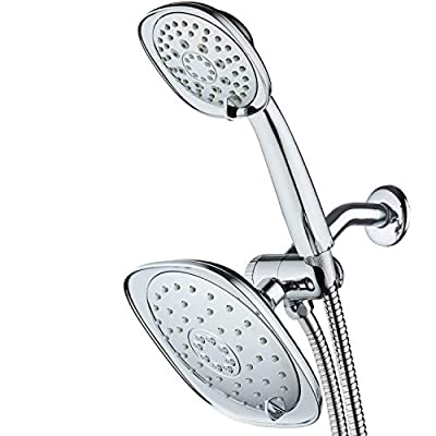 """AquaDance, Chrome Luxury Square High-Pressure Giant 7.3"""" Rain Shower Head/Handheld Spa Combo. Extra-Long 72"""" Stainless Steel Hose, 3-way Flow Diverter, Finish. Best Quality from Top American"""