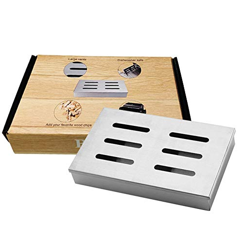 ZONGMIC Fleisch-Räucherbox zum Grillen, Edelstahl-Grillzubehör, Räucherbox, Gasgrill, Räucherbox, Holzspäne für Haus, Garten, Outdoor-Grill silberfarben
