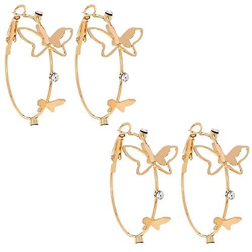 2 pares de accesorios de joyería de lujo premium oro Rhinestone Ear Loop mariposa pendiente para las mujeres mariposa