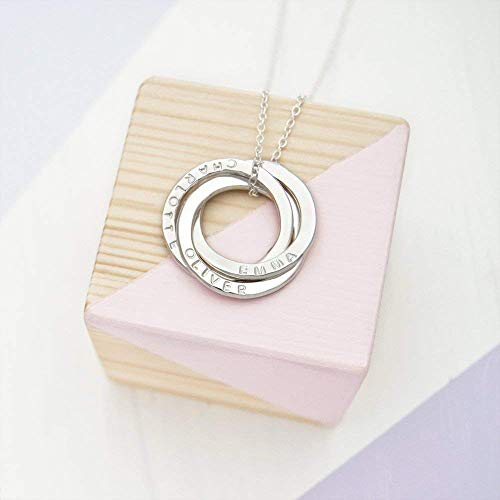 Personalised Russian Ring Necklace - 3 Rings For 3 Names