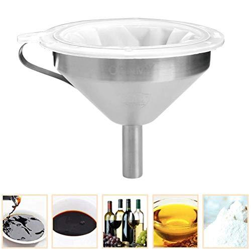 OFNMY Trichter aus Edelstahl ø 13cm mit Sieb Küchenprofi Edelstahltrichter mit Siebeinsatz für Wein, Milch, Saft(200+400 Maschen)