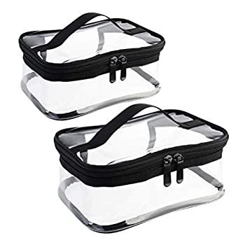 Wobe 2 Pack Portable Clear Makeup Bag Zipper Waterproof Cosmetics Bag Transparent Travel Storage Carry Pouch PVC Zippered Toiletry Bag Organizers With Handle for Vacation Travel Bathroom