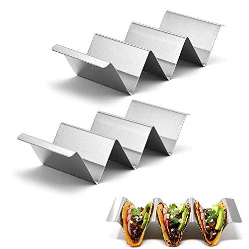 Taco Halter Ständer,2 Pack Edelstahl Taco Halter Taco Halter Stand Set Taco Tray Holder Taco Stands Mexikanisches Lebensmittelregal Taco Rack Wellenförmiges Taco Tray Hält für Geschirrspüler und Ofen
