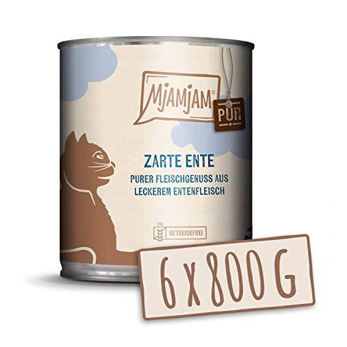 MjAMjAM - Pienso acuoso para Gatos - Suave Pato Puro - Sin Cereales - 6 x 800 g