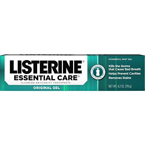 Listerine Essential Care Toothpaste, Powerful Mint Gel, 4.2-Ounce Tubes (Pack of 2)