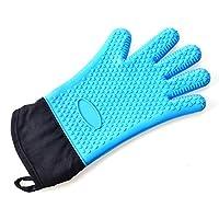 ANTHOS 3PCS /ロットアセットコットンノブと長いシリコーン絶縁耐熱ハート型の五指オーブン滑り止めの手袋 キッチン断熱手袋 耐熱手袋 絶縁手袋 耐熱オーブングローブ 滑り止め手袋 (Color : Blue, Size : 3PCS)
