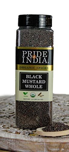 Pride Of India - Biologisch zwart mosterdzaad heel - 24 oz (680 g) grote dubbele zeefpot - Gecertificeerde pure Indiase veganistische kruiden - Beste voor beitsen, chutney, Indiaas eten - Biedt de beste prijs-kwaliteitverhouding