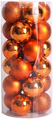 ZYBenda Shatterproof Shiny and Polshed Glossy Christmas Tree Ball Ornaments Decorations Pack of 24 (Orange, 1.57''-40mm)