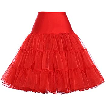 Women Tea Length Can-can Skirt Stretchy Crinoline Slip Petticoat Red Small