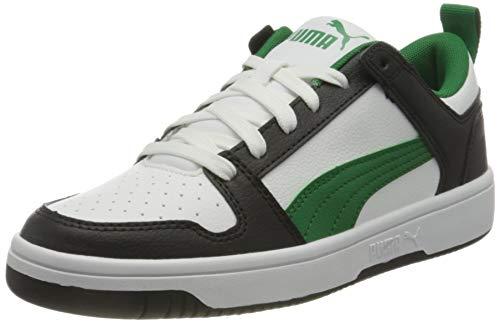 PUMA Rebound Layup Lo SL, Zapatillas Unisex Adulto, Blanco White/Amazon Green Black, 42 EU