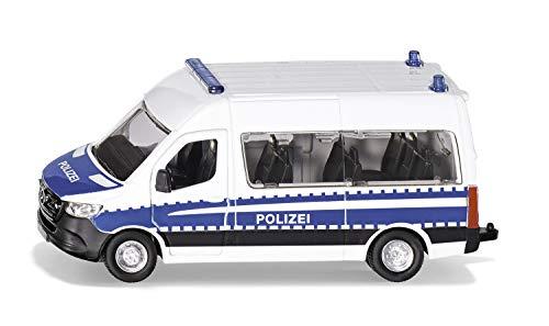 Siku 2305, Mercedes-Benz Sprinter Bundespolizei, 1:50, Metall/Kunststoff, Silber/Blau, Anhängerkupplung, Spielzeugauto für Kinder