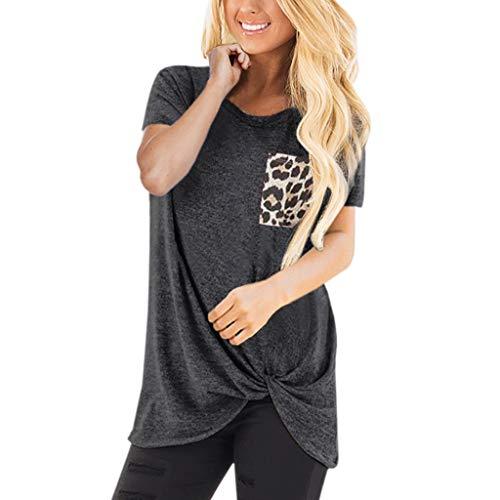 HULKY Vendita di Liquidazione Donne Premium Casual Manica Corta Solid T Shirt Twist Knot Tuniche Cime Camicette con Tasche Leopard(Grigio Scuro,XX-Large)