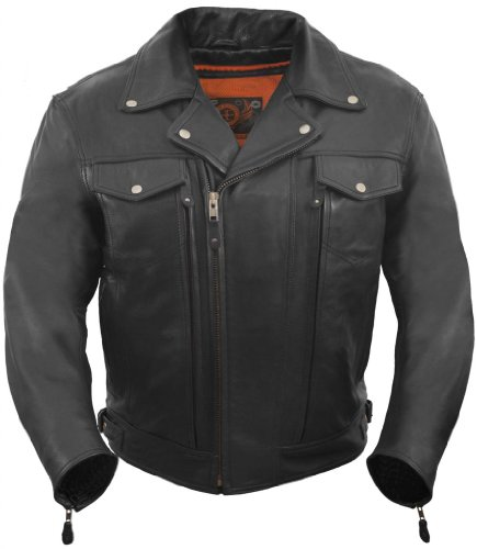 True Element Mens Asymmetrical, Vented Leather Motorcycle Jacket with 2 Utility Storage Pockets (Black, Large)