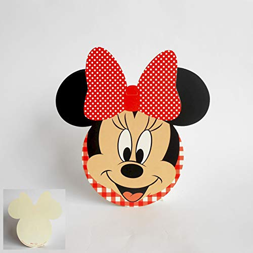 Scotton Carte Invitation ou tablò Silhouette Minnie Disney Rouge Set 20 Pièces Art 68020