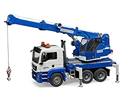 small BruderMan Tgs truck crane with light and sound machine