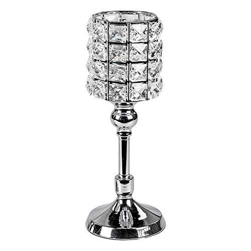 Formano Deko-Windlicht auf Fuß, aus Metall und Glas, Rund, 30x11cm, 1 Stück, Silber