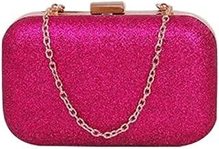 BEESCLOVER Hot Fashion PU Leather Women's Mini Evening Bag Fashion Clutch Banquet Bag Girls Shoulder Bag Messenger Bag Rose Red One Size