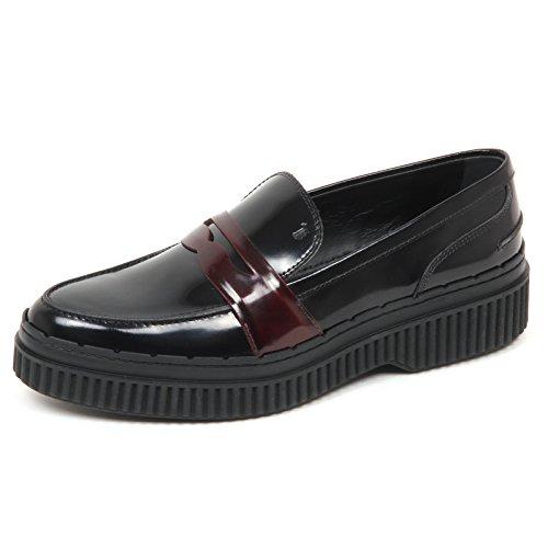 Tod's E2942 Mocassino Donna Bordeaux/Nero Scarpe Loafer Shoe Woman [40.5]
