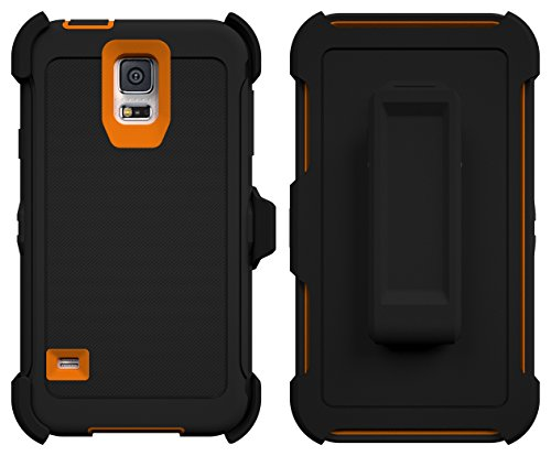 TOUGHBOX Galaxy S5 Case, [Armor Series] [Shock Proof] [Black   Orange] for Samsung Galaxy S5 Case [Built in Screen Protector] [with Holster & Belt Clip] [Fits OtterBox Defender Series Belt Clip]