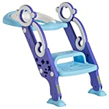 Toddler Toilet Training Seat with Non-Slip Ladder: Foldable Padded Potty Trainer with Step...