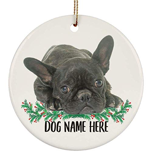 Lovesout Personalized Name Brindle French Bulldog Christmas Tree Ornament Circle Ceramic