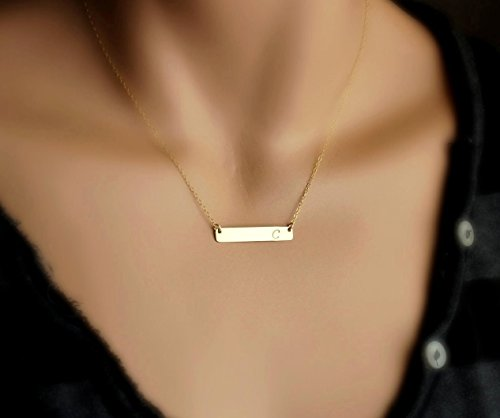 Personalized Gold Bar Necklace, Name Plate Necklace, Delicate Horizontal Bar Necklace, Gold Nameplate Necklace, Silver Initial Necklace