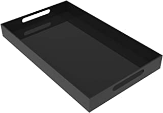 (Large, Black) - BLACK SERVING TRAY - 50cm Large Acrylic Tray for Coffee Table, Breakfast, Tea, Food, Butler - Decorative ...