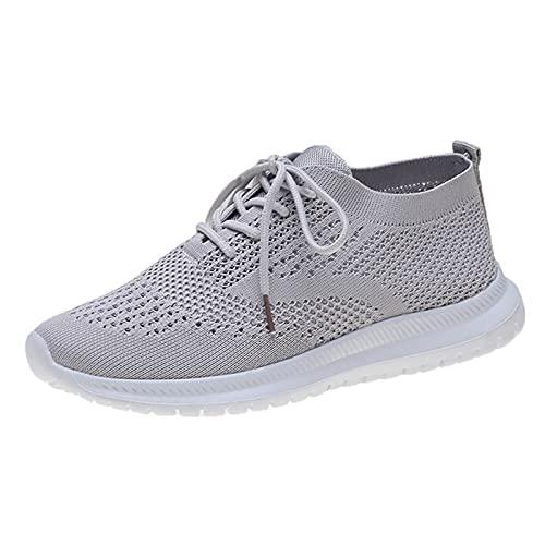 Soolike Zapatillas Mujer Casual Deportivas Caminar para Mujer Slip on Calzado, Zapatos de Correr Running, Sneakers Ligeras Zapato, Zapatos de Mujer de Encaje Transpirable de Punto Casual.