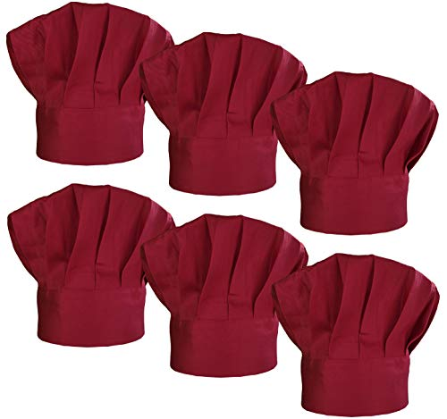 LilMents 6 Pack Chef Hat Set Elastic Baker Kitchen Catering Cooking Chefs Hats (Dark Red)