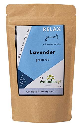 my wellnesslyf teas - Aromatic Lavender Green Tea | Loose leaf 25 cups | Hot & Iced tea | Natural Ingredients