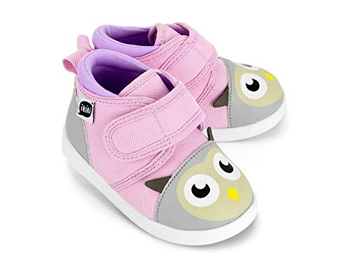 ikiki Owl Squeaky Shoes for Toddlers w/Adjustable Squeaker, Light Pink Girl or Boy Shoes (Size 5, Dr. Owlivia Hoot)